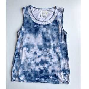 Lysse blue and white tie dye tank top